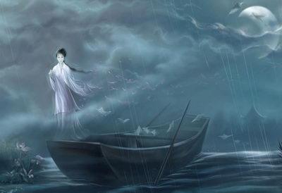Девушка в лодке ночью