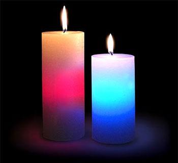 2 цветные свечи