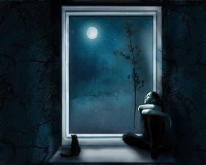 Девушка смотрит на луну из окна