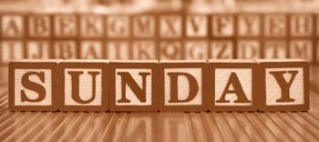 """Из кубиков сложено слово """"Sunday"""""""