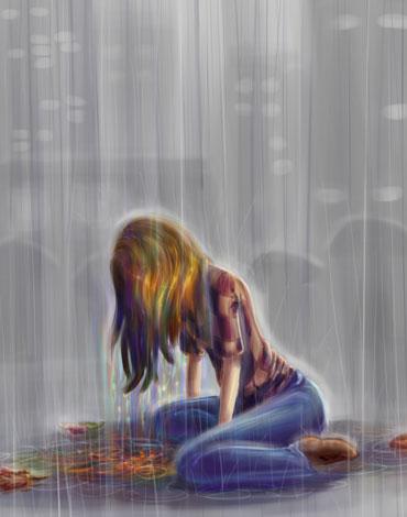 Нарисованная девушка под дождем