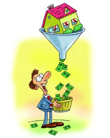 Из воронки с домиком сыпятся доллары