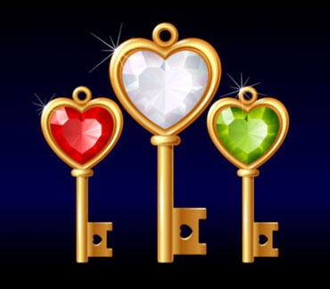 Три ключа с цветными камнями