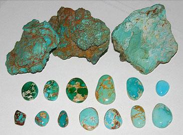 Зеленые и голубые камни