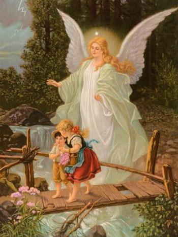 Картина, ангел-хранитель оберегает детей