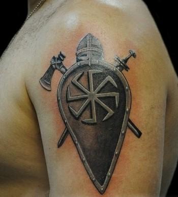 доспехи и щит с Коловратом