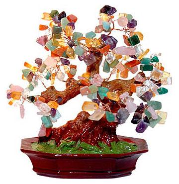 Дерево с камнями самоцветами