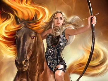Девушка верхом на коне с луком