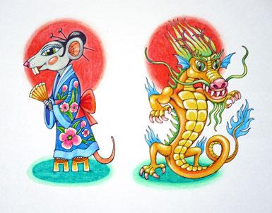 Рисунок крыса и дракон