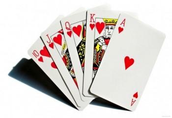 Пять игральных карт черви
