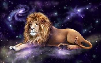 Лев на фоне звездного неба
