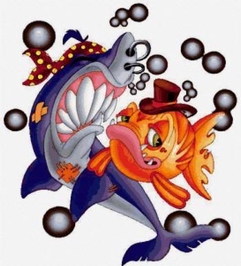 Рисунок рыбки и акулы