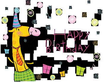 Жирафик и надпись с днем рождения