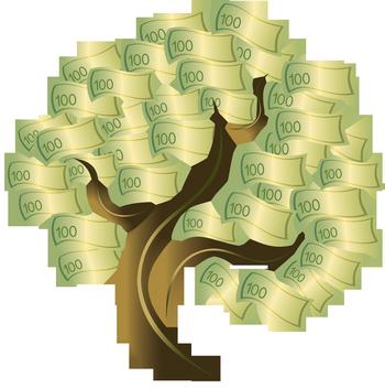 Рисунок дерева с деньгами