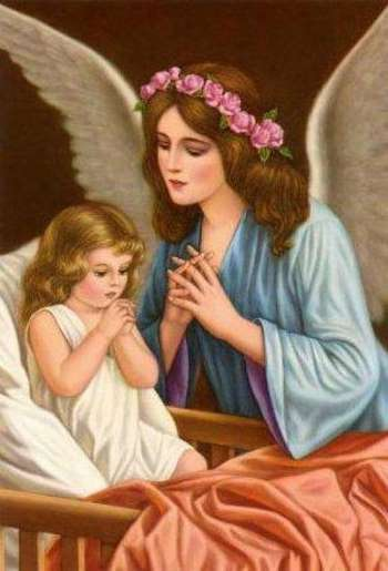 Рисунок ангела и ребенка во время молитвы