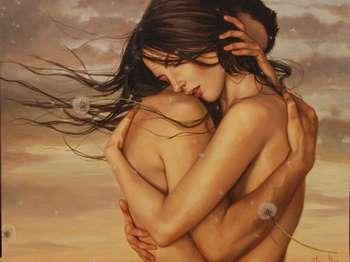 Рисунок девушка обнимается с парнем