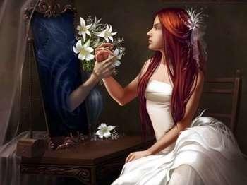 Рисунок девушки и парня из зеркала