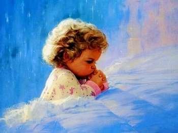Рисунок маленького ребенка во время молитвы
