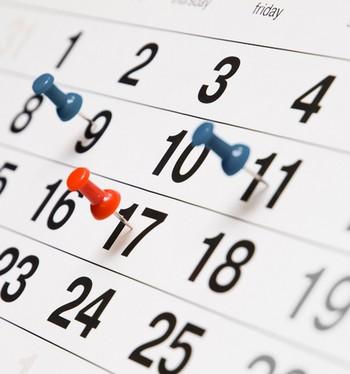 Календарь с отмеченными датами
