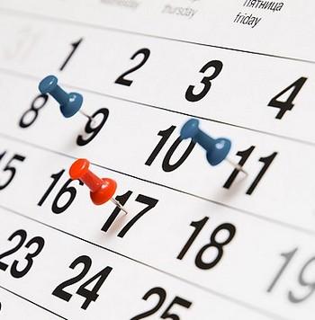 Календарь с помеченными датами