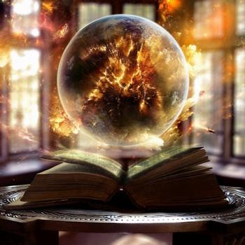 Магический шар над книгой