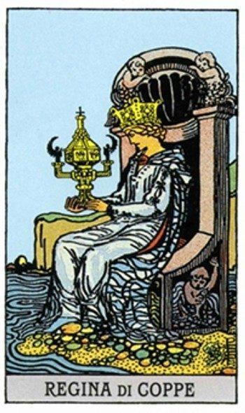 Королева Кубков в сочетании с жезлами
